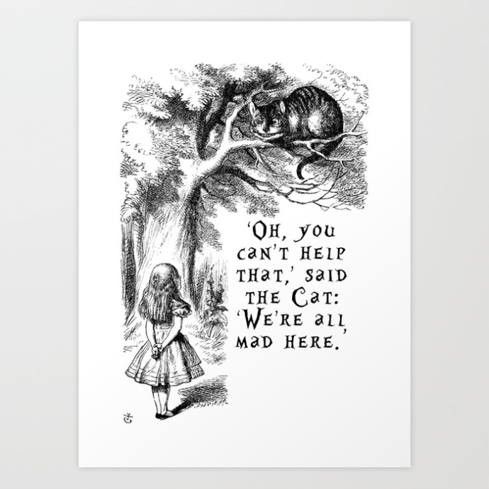 alice-in-wonderland-were-all-mad-here-quote-with-cheshire-cat-prints